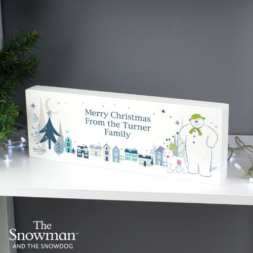 The Snowman and the Snowdog Wooden Block Sign